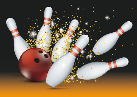 Bowling pins and red ball with golden glitter sand.