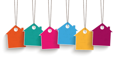 5 colored price sticker houses on the white background. Illustration