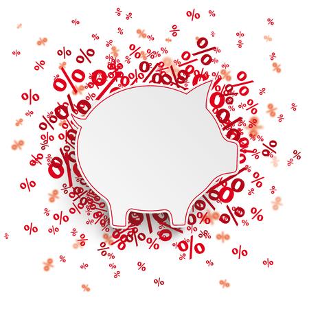 Spaarvarken met rode procenten op het wit.