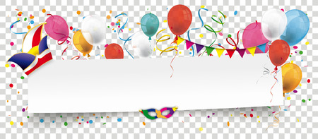 White paper banner with balloons, jesters cap and confetti on the checked background. Eps 10 vector file. Illustration