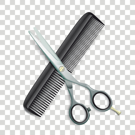 Scissors and comb on the checked background. Eps 10 vector file. Ilustração
