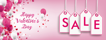 Valentines day header with price stickers on the pink background with ornaments vector file.