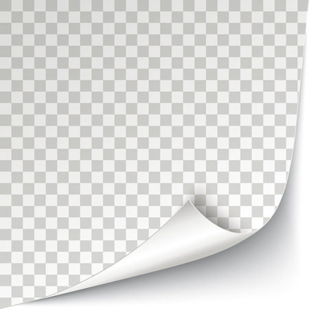 White scrolled corner cover with checked background vector file.