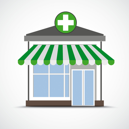 Drugstore with green marquee on the white background.Eps 10 vector file. Illustration