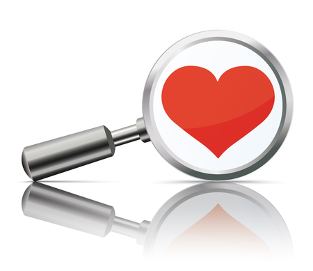 Loupe with red heart on the white background. Eps 10 vector file.