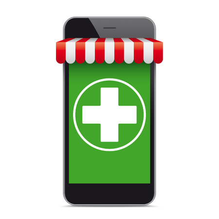 Black smartphone with green screen, red margquee and white cross. Eps 10 vector file.