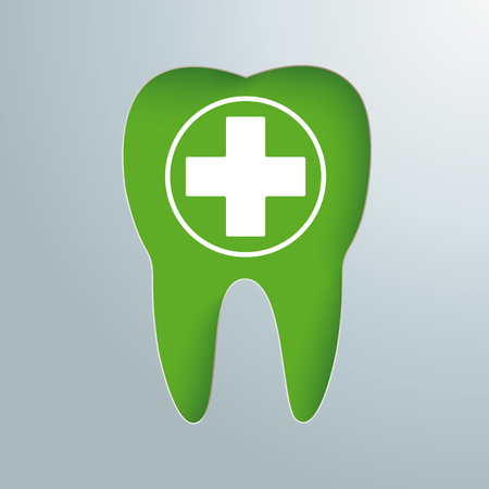 Gray background with green tooth hole and white cross. Eps 10 vector file. Illustration