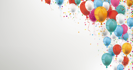 Colored balloons and confetti on the gray background. Eps 10 vector file. Illustration