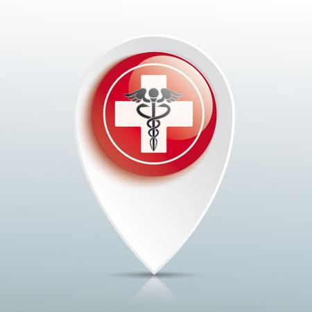 흰 십자가와 빨간 버튼에 aesculapian 직원과 포인터. Eps 10 벡터 파일입니다. 일러스트