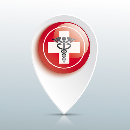 Pointer with white cross and aesculapian staff on the red button. Eps 10 vector file. Illustration