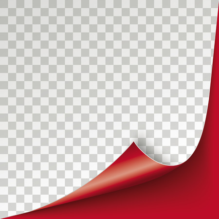 Red scrolled corner cover with checked background. Eps 10 vector file.