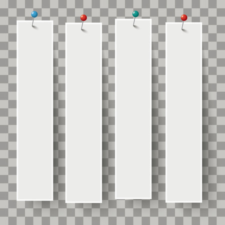 White frame banners with colored pins on the checked background. Eps 10 vector file.