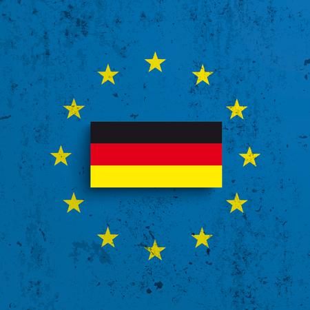 콘크리트 배경에 EU 및 독일 플래그입니다. Eps 10 벡터 파일입니다.