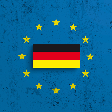 EU and Germany flag on the concrete background . Eps 10 vector file.