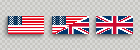 Flag of the USA and UK on the checked background. Eps 10 vector file.