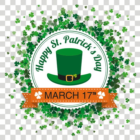 White paper emblem with cloverleafs for St. Patricks Day on the checked background. Eps 10 vector file.