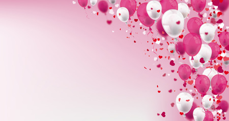 Pink and white balloons with hearts on the pink background. Eps 10 vector file. Çizim