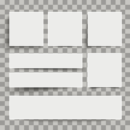 White frame banners with shadows on the checked background. Eps 10 vector file.