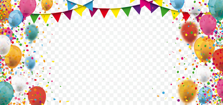 Colored confetti and balloons on the checked background. Eps 10 vector file. Illustration