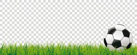 チェックの背景に草の中の古典的なサッカー。Eps 10 ベクトルファイル。  イラスト・ベクター素材