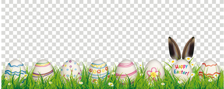 White flowers in grass with colored easter eggs on the checked background. Eps 10 vector file.