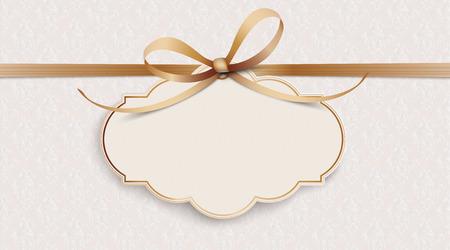 Noble behang met lint, klassiek embleem en klassieke ornamenten. Eps 10 vectorbestand. Vector Illustratie