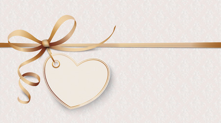 Noble ribbon wallpaper with heart and ornaments. Eps 10 vector file. Banco de Imagens - 94518319