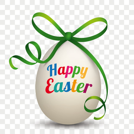 Egg with green ribbon and text Happy Easter