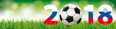 football classique avec drapeau russe dans l & # 39 ; herbe sur le fond de bokeh