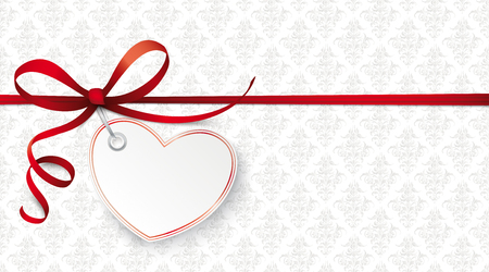 Red ribbon wallpaper with red heart and ornaments. Banco de Imagens - 95210980