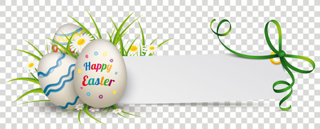 Easter eggs with grass, flowers and paper banner with green ribbon.