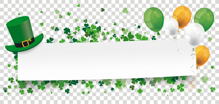 White paper banner for St Patricks Day on the checked background.