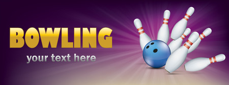 Purple bowling banner with blue ball and white pins. Eps 10 vector file.