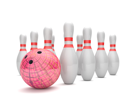 Red bowling pin with pins on the white background. 3d illustration.