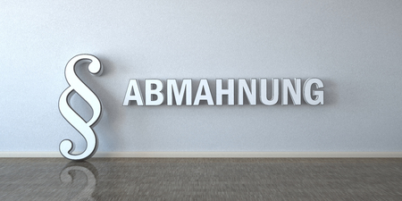 A room with paragraph and german text Abmahnung, translate Warning Letter. Eps 10 vector file. Stock Photo