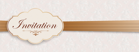 Invitation card with ribbons, emblem and classic ornaments.