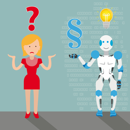 Robot cartoon with woman, question, paragraph and bulb on the gray background.   vector file.