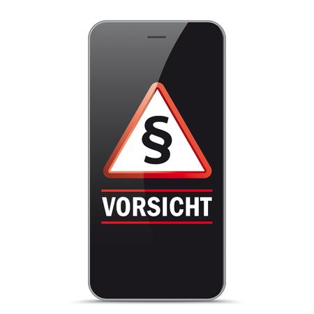German text Vorsicht, translate Watch Out. Eps 10 vector file.  Illustration