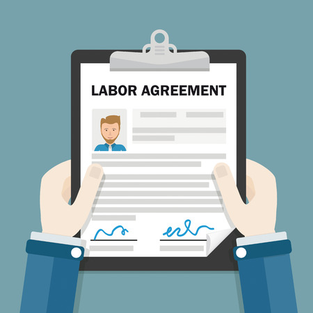 Hands with clipboard and text Labor Agreement vector illustration Illustration