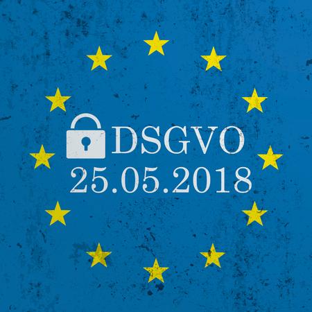 German text DSGVO, translate General Data Protection Regulation. Eps 10 vector file. Illustration