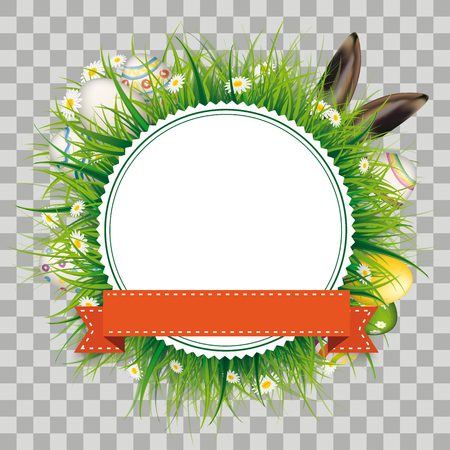 Emblem with ribbon, green grass, flowers, eggs and hare ears on checked background.