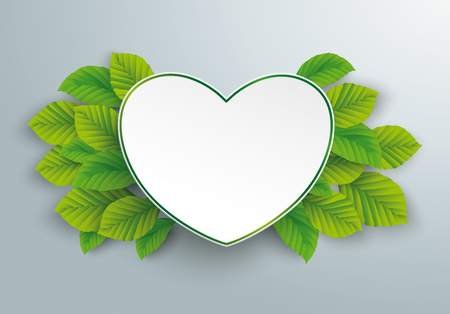Infographic design with green paper heart and green eco leaves on the gray background.