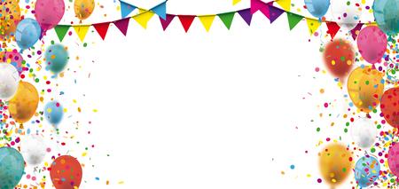 Farbige Konfetti und Ballons auf dem weißen Hintergrund