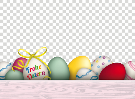 German text Frohe Ostern, translate Happy Easter. with easter eggs.