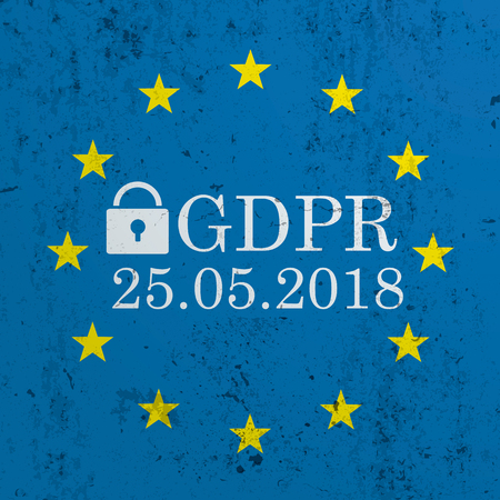 EU-Flag on the concrete with text General Data Protection Regulation.