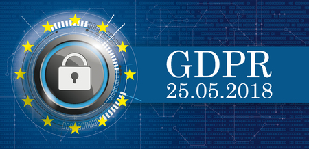 Banner with Bits, DLock, EU-Flag and text General Data Protection Regulation.