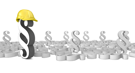 Paragraphs with yellow hardhat on the white background. 3d Illustration.  Stock Photo
