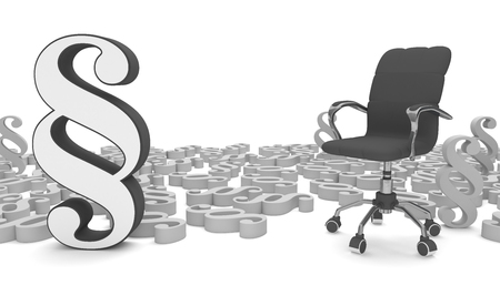 Paragraphs with black swivel chair on the white. 3d illustration.  Stock Photo