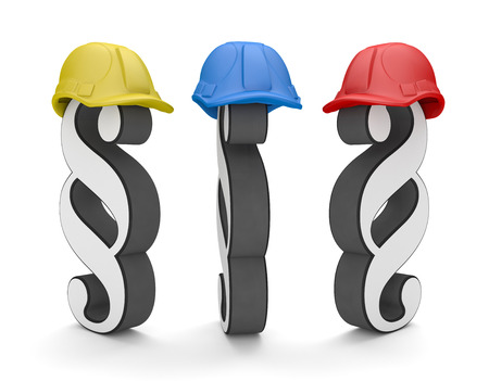 3 paragraphs with colored hardhats on the white. 3d illustration.  Фото со стока