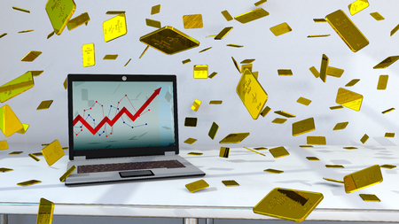 A notebook with growing chart on the screen and golden bars. 3d illustration.